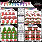 Christmas Counting Clip Art & B&W Bundle 1 (4 Sets)