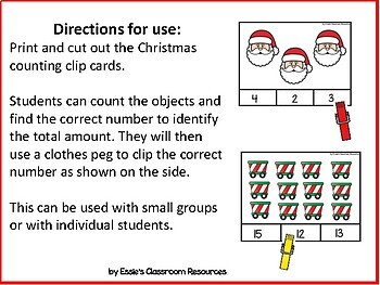 Christmas Counting Clip Cards 1-20