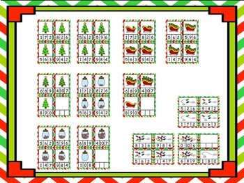 Christmas Counting Clip Cards (Numbers 0 - 10) - 4 Sets!