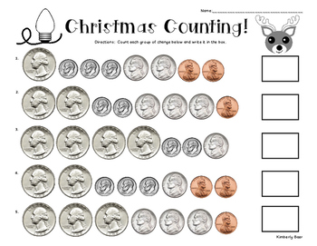Christmas Counting! - Counting Money - Coins up to $2.00 - Worksheet