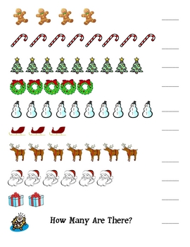 Christmas Counting Exercise: Numbers 1-10 - for Pre-K, K or 1st