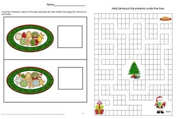Christmas Math Cut and Paste Worksheets Kindergarten Math Centers