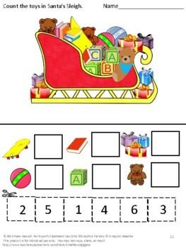Christmas Activities Math Center Cut Paste Fine Motor Skills P-K,K,Special Ed