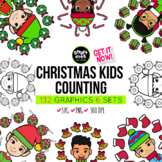 Christmas Counting Kids Clipart Bundle