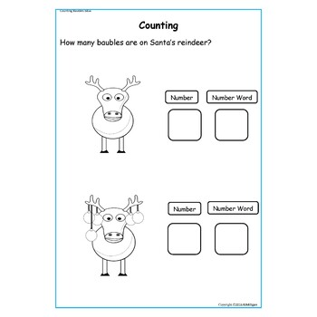 Christmas Counting Match-up Tally Charts Worksheets and Cut/paste Activities