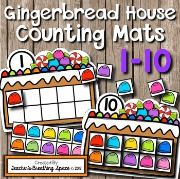 Christmas Counting Mats 1-10 -- Gingerbread House Counting Mats with Tens Frames