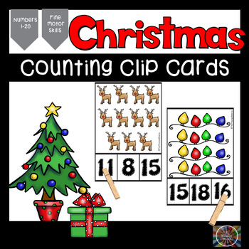 Christmas Counting Number Clip Cards Numbers 1 through 20