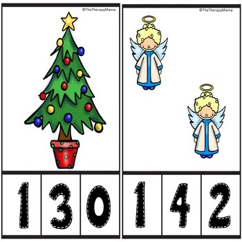 Christmas Counting Number Clip Cards Numbers 1-20 No Prep Math Activity