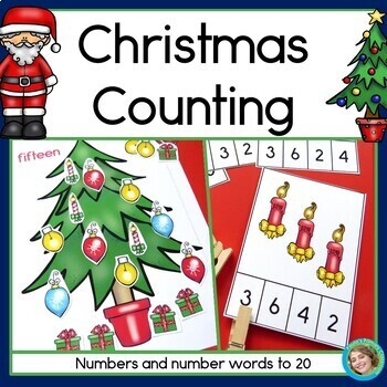 Christmas Counting - Numerals and Number Words 1-20