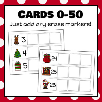 Christmas Counting On Strips and Worksheet for Numbers 0-50