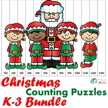 Christmas Counting Puzzles K-3 Bundle