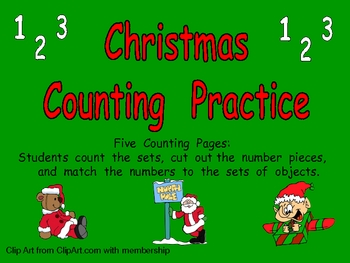 Christmas Counting Sets Independent Practice for Kindergarten