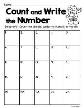 Christmas Counting Task Cards for Kindergarten and 1st Grade Numbers 0 - 10