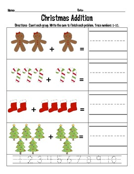 Christmas Counting and Addition Printables and Math Centers