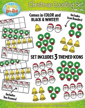 Christmas Counting and Ten Frames Math Clipart Set — Inclu