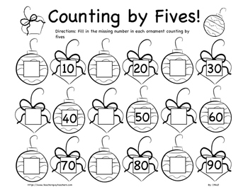 Christmas Counting by Fives Worksheet K-2nd Grade