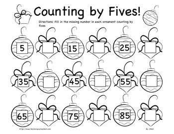 Christmas Counting By Fives Worksheet K 2nd Grade By In The Name Of