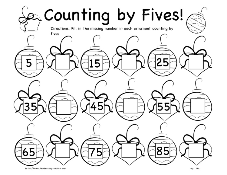 Christmas Counting By Fives And Tens Worksheet Bundle K-2nd Grade