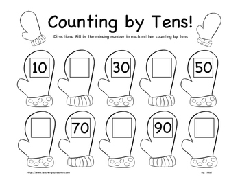Christmas Counting by Tens Worksheet K-2nd Grade