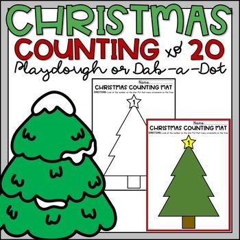 Christmas Counting to 20 Playdough or Dab a Dot Mats