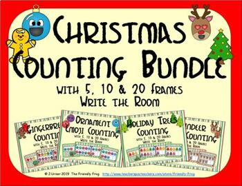 Christmas Counting with 5, 10 & 20 Frames Bundle {Subitizing}