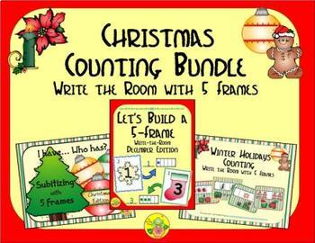 Christmas Counting with 5 Frames Bundle {Subitizing}
