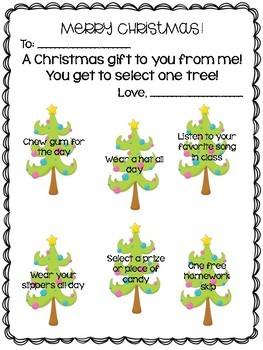 Christmas Coupon Choice Student Gift