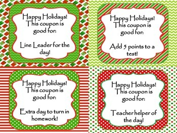 Editable Christmas Coupons for Students-12 Free gifts for your students