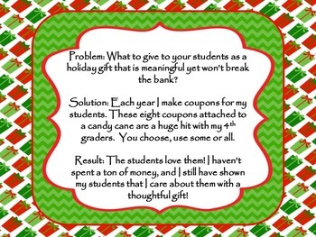 Editable Holiday Coupons- Use as gifts for your students- Christmas