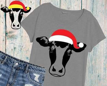 Christmas Cow.Christmas Cow Head Svg Clipart Farm Milk Santa Claus Props 920s