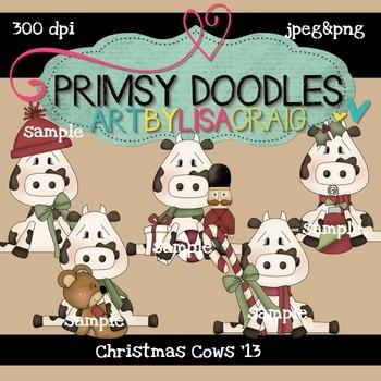 Christmas Cows 300 dpi Clipart