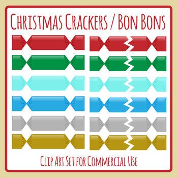 Christmas Cracker or Bon Bons Clip Art Set Commercial Use