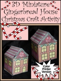 Christmas Craft Activities: 3D Miniature Gingerbread House Craft Gift Box -Color