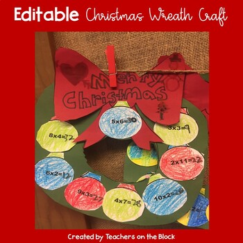Christmas Craft- Multiplication Wreath Editable Freebie