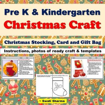 Pre K Christmas Craft.Christmas Craft For Pre K And Kindergarten Christmas Stockings Card And Bag