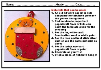 Christmas Craft for Pre K and Kindergarten Christmas Stockings, Card and bag