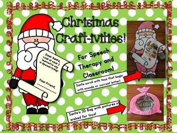 Christmas Speech Therapy Crafts Original Contains 2 Crafts