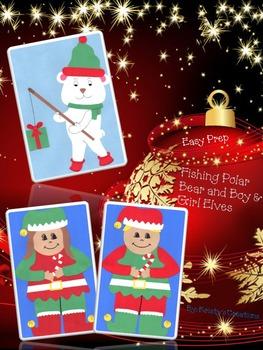 Christmas Crafts Easy Prep: Fishing Polar Bear & Boy and Girl Elves