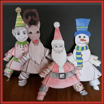 Christmas Crafts - Frosty, an Elf, Santa, a Reindeer & 2 Cards