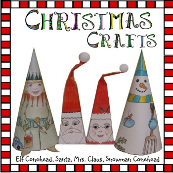 Christmas Crafts - Frosty and Elf Conehead, Santa & Mrs. Claus & 2 Cards