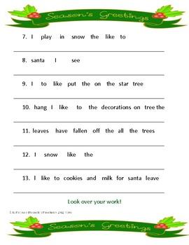 Christmas - Creating sentences