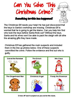 Christmas Crime Investigation - Literacy and Numeracy Problem Solving Grade 3-4