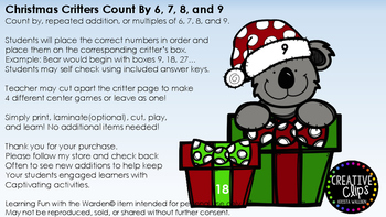 Christmas Critter Count By, Repeat Addition, Multiples of 6, 7, 8, and 9