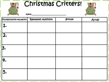 Christmas Critter!! (Multiplication Strategies)