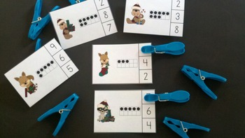 Christmas Critters Count and Clip Cards (Quantities to 20)