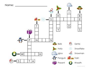 Christmas Game: Adapted Crossword Puzzle (Autism & Special Education)