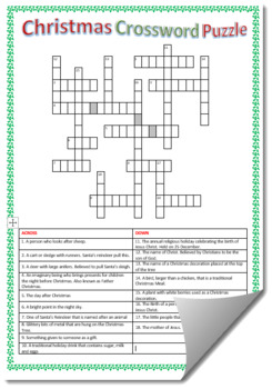 Christmas Crossword Puzzle 2 With Answers Tpt