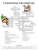 Christmas Crossword Puzzle (Color and BW versions)