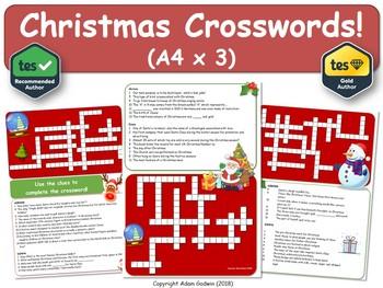 christmas crossword puzzles x3 christmas xmas crossword a4 - Christmas Crossword Puzzles