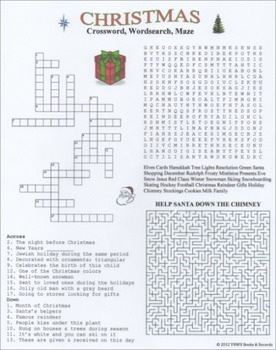 Christmas Crossword Wordsearch Maze